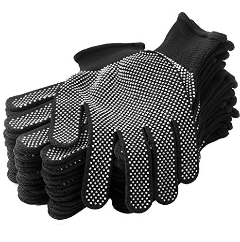 24Pcs Work Glove Liners Dry Hand Anti-slip Dots Coating Knitted Working Glove - Stretchy Cloth Glove for Fishing Grilling Warehouse Garden Painting - Thin Moist Breathable Work Glove, Black 12Pairs