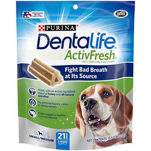 Purina DentaLife Small/Medium Breed Dog Dental Chews, ActivFresh Daily Oral Care Small/Medium Chews - 21 Ct. Pouch