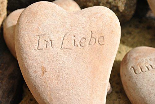 """Herz aus brauner Terracotta mit Beschriftung """"In Liebe"""",18cm"""