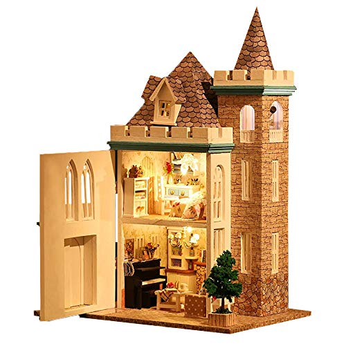 Spilay Dollhouse DIY Miniature Wooden Furniture Kit,Mini Handmade Craft Castle Model Plus with Dust Cover & Music Box,1:24 Scale Creative Doll House Toys for Teens Adult (Moonlight Castle)