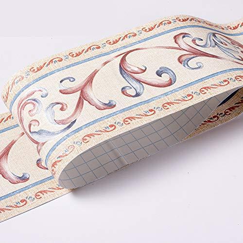 Papel pintado impermeable frontera patrón 3D pared extraíble autoadhesivo cocina baño Stciker pared papel frontera pared frontera pared 4.2 x 199.1 pulgadas (flor)