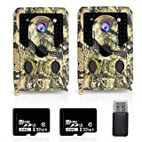 omotor 【2 Pack】 Trail Camera Hunting Wildlife Game Cam with 3 Infrared Sensors, 940nm IR LEDs Night Vision Motion Activated, 120° Wide Angle Lens, Sensitive Trigger Speed