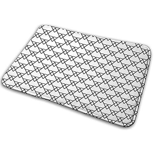 Felpudo Alfombra de baño Alfombrilla Alfombrilla Negra Patchwork Triángulos geométricos inspirados con Arte Lineal monocromático Negro