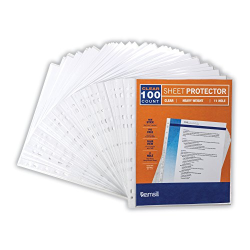 Samsill Heavyweight 11 Hole Clear Sheet Protectors / Acid Free Archival Safe / Polypropylene Sheet / Top Loading Sheet Protectors 8.5 x 11 inches / Box of 100 Page Protectors Bulk / Clear