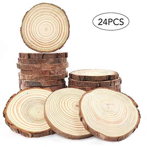 AGEOMET Natural Wood Slices 24pcs 3.5-4 Inches Craft Unfinished Wood kit for DIY Handmade Arts Crafts Christmas Ornaments Wedding Decoration