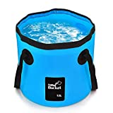 Mrrainbow Collapsible Bucket, Foldable Water Container, 12L Portable Lightweight Pail for Camping,Traveling, Fishing, Gardening,Car Washing, Hiking