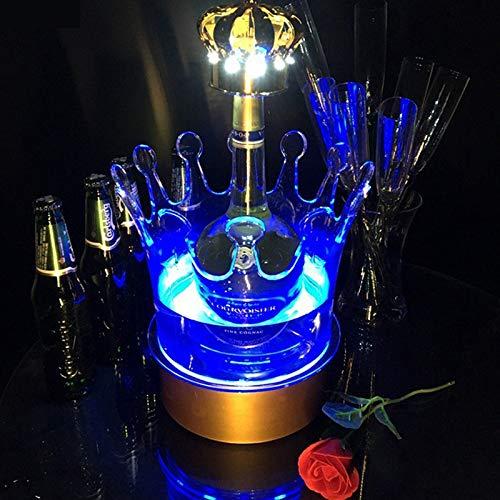 BAYUE LED seau à glace facturable Changement de couleur vin panaché Couronne Champagne Porte-vin Boissons Bière Wine Bar Rack/mariage/Home Party (Color : S 26.5X27cm)