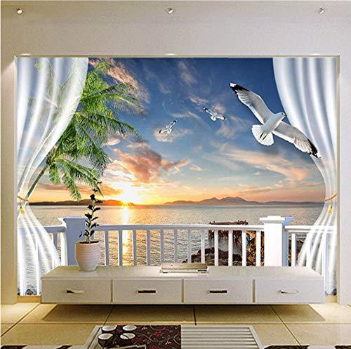 Muurschildering Set Strand Vensterbank Seagull,150X100Cm Non-Woven Wallpaper - Muurschildering - Wanddecoratie - Kunstdruk - Poster Foto - Hd Print - Modern Decor 450x350cm