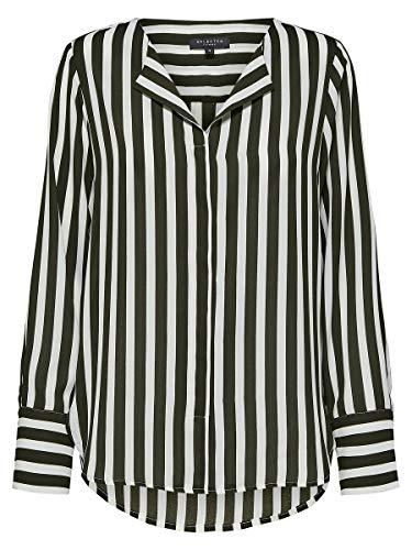SELECTED FEMME Damen SLFSTINA-DYNELLA LS AOP Shirt NOOS Bluse, Mehrfarbig (Creme Stripes: Rosin Stripe), (Herstellergröße: 36)