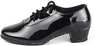 Aiweijia Men's Boys Dancing Shoes Latin Salsa Jazz Tango Black Leather Shoes