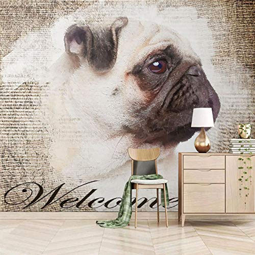 Fotobehang hond muur muurschildering 3D niet-geweven moderne woondecoratie voor slaapkamer badkamer 300x210cm