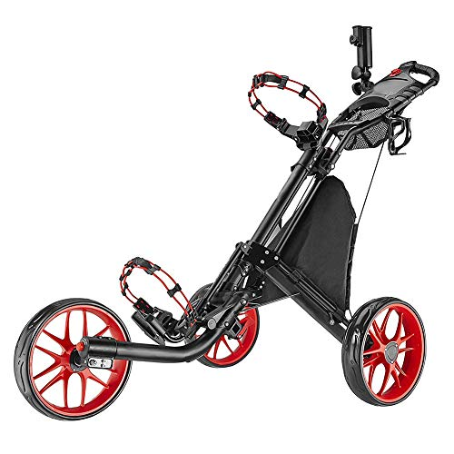 Buy Bargain Golf Cart 3 Wheel Foldable Golf Push Cart, Easy Push and Pull Golf Trolley with Umbrella...