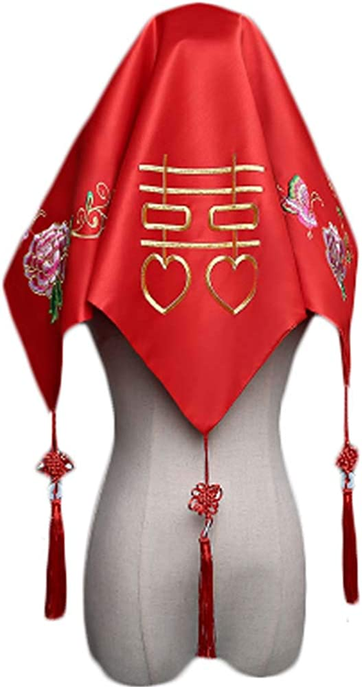 Traditional Chinese Wedding Bridal Veil Red Head Scarf A08