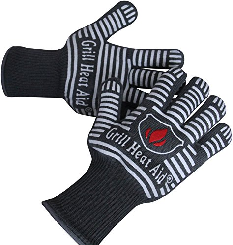 Extreme Heat Resistant BBQ Gloves - Premium Insulated & Silicone Lined Aramid Fiber Mitts for Cooking, Grilling, Frying and Baking - Professional Indoor Outdoor Kitchen Oven Accessories