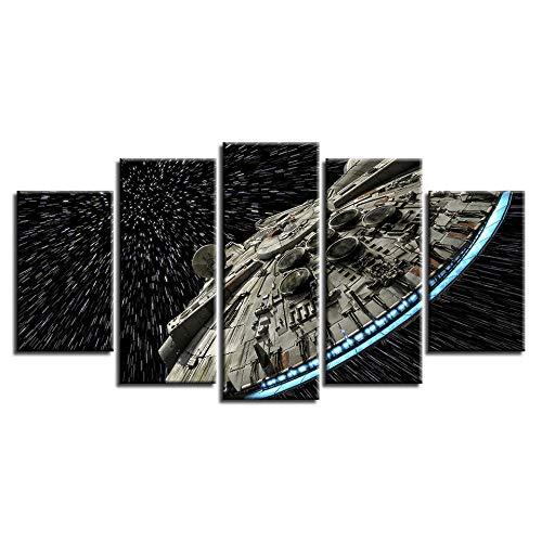 VENDISART,Impresiones sobre Lienzo,Modular Decoración De Pared Póster,5 Piezas Cuadro,Nave Espacial De Star Wars,con Marco,Talla:200cm×100cm