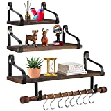 Floating Shelves Wall Mounted Set of 3, LAERJIN Rustic Wood Wall Shelves with Rail and Towel Bar, Storage Shelves for Bedroom Living Room Bathroom Kitchen