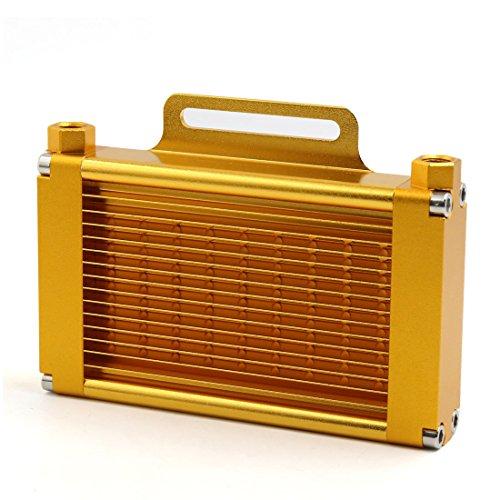 sourcingmap® Goldton Aluminum Legierung 14 Reihe 9mm Gewinde Motorrad Ölkühler Autokühler DE de