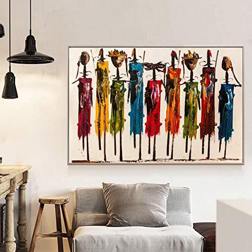 KWzEQ Abstraktes Ölgemäldeplakat der afrikanischen Frau und Wanddruck auf Leinwand für Hauptdekoration,Rahmenlose Malerei,45x67cm
