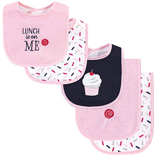 Hudson Baby Unisex Baby Cotton Terry Bib and Burp Cloth Set Cupcake One Size
