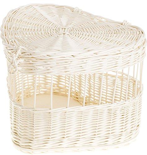e-wicker24 Weidekäfig, Weidentransporter für Tauben, Weidenkäfig in beige, Käfig aus Weide in Herzform