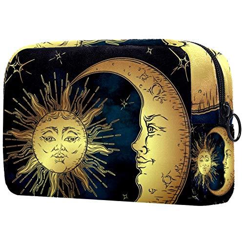 Bolsa para brochas de maquillaje personalizable, bolsa de aseo portátil para mujer, bolso cosmético, organizador de viaje, dorado, sol, luna y estrellas