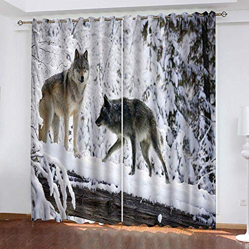 YUNSW Tiger Wolf 3D Digital Printing Polyester Fiber Curtains, Garden Living Room Kitchen Bedroom Blackout Curtains, Perforated Curtains 2 Piece Set