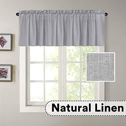 """H.VERSAILTEX Natural Linen Curtain Valances for Kitchen Window/Living Room/Bathroom Privacy Added Rod Pocket Home Decoration Small Curtain, 52"""" W x 18"""" L, Dove, 1 Panel"""