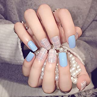 YUNAI False Nails for Teens/Girls Light Blue with Matte Pink Fake Nail Medium Size