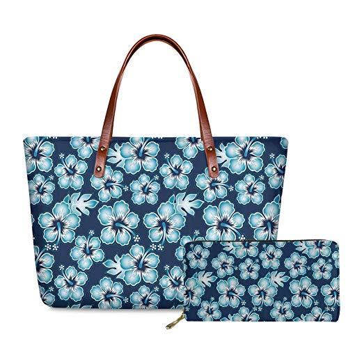SEANATIVE Juego de 2 bolsas y monedero de estilo hawaiano con diseño floral de hibisco para mujer