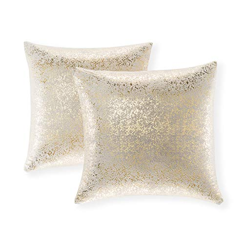 Set of 2 Throw Pillow Covers, Cushion Cases, Decorative Square Pillow Case, Slipover Pillowslip for Home Sofa Couch Chair Back Seat Bedroom Car, Invisible Zipper, 18 x 18 Inch (Bronzing- Light Gray)