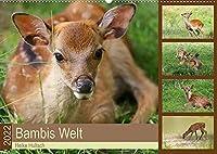 Bambis Welt (Wandkalender 2022 DIN A2 quer): Sikawild in der Natur (Monatskalender, 14 Seiten )