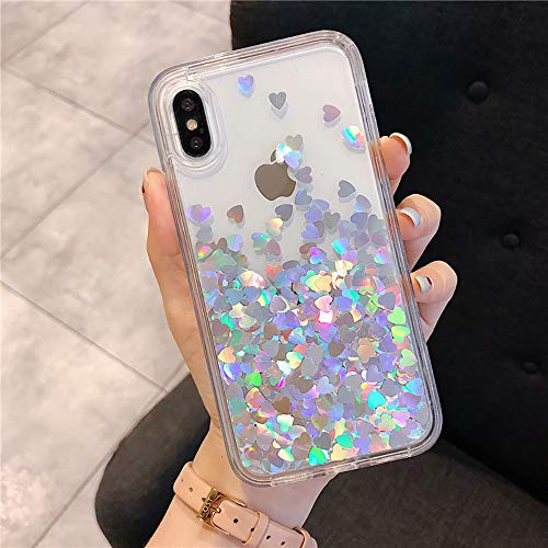 Poowear for iPhone XR Case, Glitter Liquid Bling Floating Bling Sparkle Luxury Pretty Girls Crystal Clear Case for Apple iPhone XR [6.1 Inch 2018], Silver