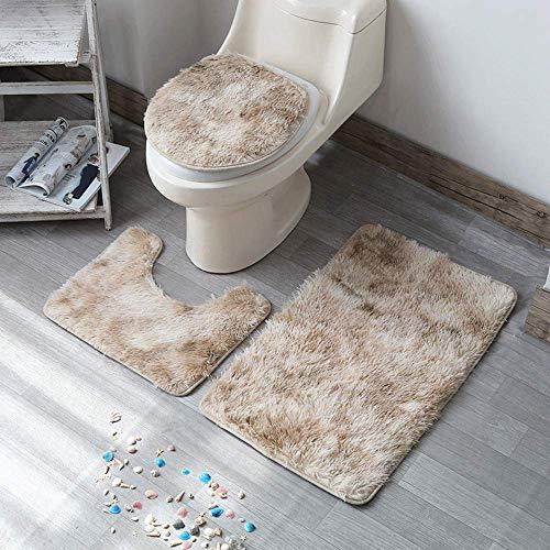 LAOSHIZI Nueva Alfombra de baño Suave Antideslizante Alfombra de baño Juegos de 3 Piezas Que Incluyen Alfombra de baño Alfombra de Pedestal y Alfombra de baño Lechoso