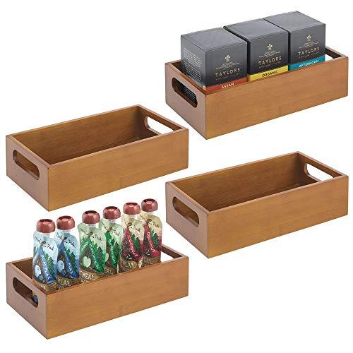 mDesign Juego de 4 cajas organizadoras con asas – Práctico cajón de madera para almacenar alimentos, especias, nueces o botellas – Organizador de cocina abierto en madera de bambú – marrón