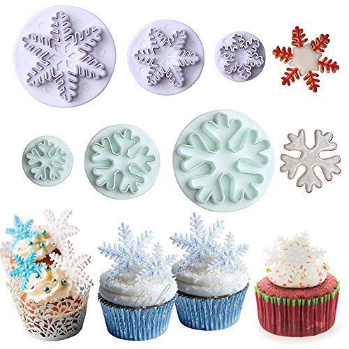 6Pcs/Set Christmas Snowflake Fondant Cutter, Snowflake Plunger Fondant Embossing Mold Cookie Cutter Frozen Cake Toppers Decorations Kids Birthdays Cupcake Decorating Supplies