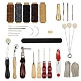 Tebery 31 Pcs Leather Sewing Tools Hand Stitching Tool Set with Groover Awl Waxed Thread Thimble Kit for DIY Craft