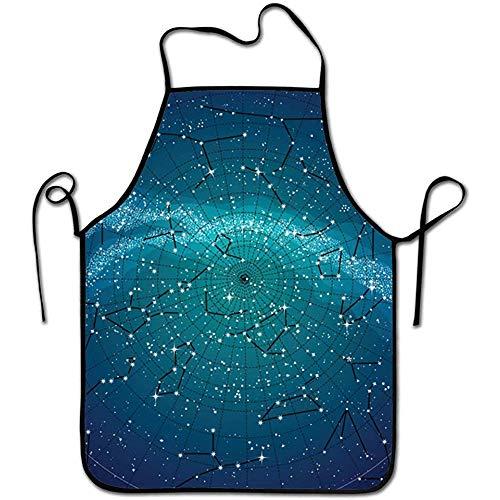 DSFAA Sternbilder Nordhimmel Karte Unisex Kochschürze Kochschürze zum Kochen Backen Basteln Gärtnern und Grillen