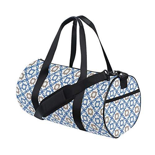 HARXISE Altes Delfter Blau-Muster Verwickelte alte niederländische Fliesen-Motive,Reisegepäcktasche Sport Leichte Segeltuch Fitness Gepäcktrommel Handtasche Abnehmbar