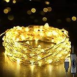 Fesjoy Fairy Lights 393in 100 LED String Lights USB IP65 Impermeabile Bianco Caldo per Natale, Matrimonio, Interno/Esterno-Filo d'Argento