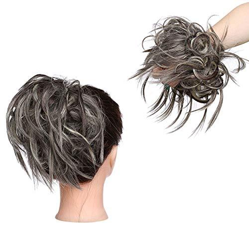 XXL Postiche Cheveux En Caoutchouc Chouchou Chignons VOLUMINEUX Bouclés Ou Chignon Décoiffé Extension a clip Cheveux Naturel Brun moyen à blond de blanchiment