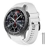 NotoCity Correa Compatible con Samsung Gear S3 Classic/Frontier/Galaxy Watch 46mm, Correa de Reloj de Silicona Suave Compatible con Gear S3 Classic/ S3 Frontier/Galaxy 46mm (Blanco)