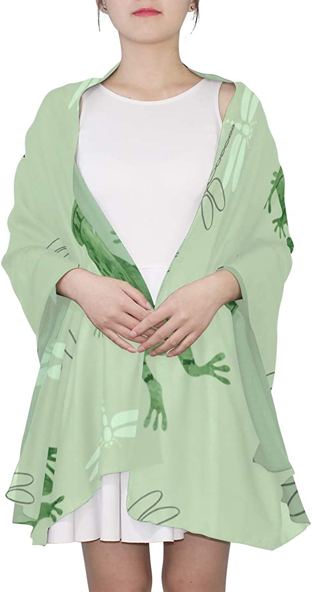 Cute Frogs And Dragonflies Unique Fashion Scarf For Women Lightweight Fashion Fall Winter Print Scarves Shawl Wraps Gifts For Early Spring
