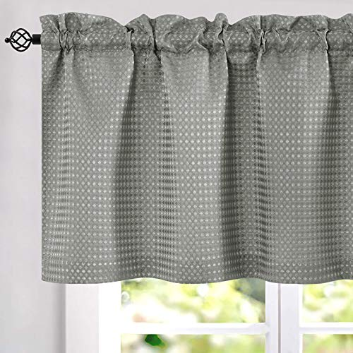 Grey Valance Waffle Weave Textured Kitchen Curtains Gray Window Treatment Valance for Basement Half Short Cafe Curtain Topper 60 by 18 Inch 1 Panel
