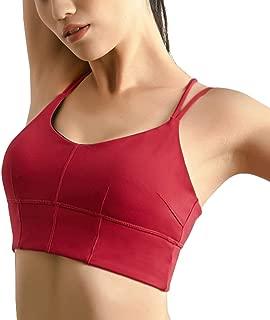 chouyatou Women's Stretchy Spaghetti Strap Cross Back Active Workout Yoga Sports Bras