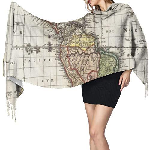 Bufanda Fringe Cachemira de imitación Chal Mujer Mapa antiguo Europa Norte América del Sur Canadá Atlántico medieval Patrimonio Viajes Bufanda de invierno de Cálido Grueso Otoño Invierno para hombre