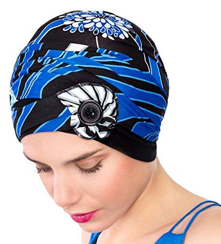 NJ Creation Kenaya knoop pruik zwart bedrukt koningsblauw/turquoise