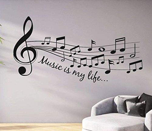 tjapalo® s-pkm46 140cm Wandtattoo Wohnzimmer Musik Wandtattoo musik ist mein Leben Music is my life