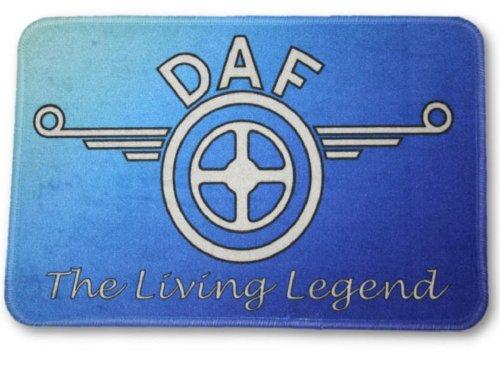 Fußmatte mit Logo DAF Legend, 60x40cm Waschbar Feines Velours Universell einsetzbar | LKW-Fußmatte, Teppich zur Innenausstattung | Schmutzfänger für LKW, PKW und Wohnung | Universal Auto-Matte, Autofußmatte als Zubehör fürs Truck-Fahrerhaus