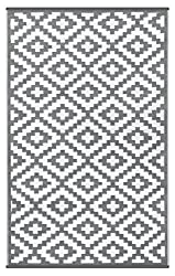 Lightweight Outdoor Reversible Plastic Nirvana Rug (3 X 5, Grey / White)