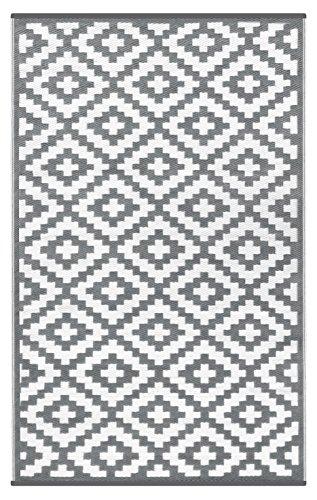 Green Decore 150 x 240 cm Wendbarer Öko-Teppich aus recyceltem Kunststoff (Plastik) für Innen und Außen/Federleicht - Grau/Weiß